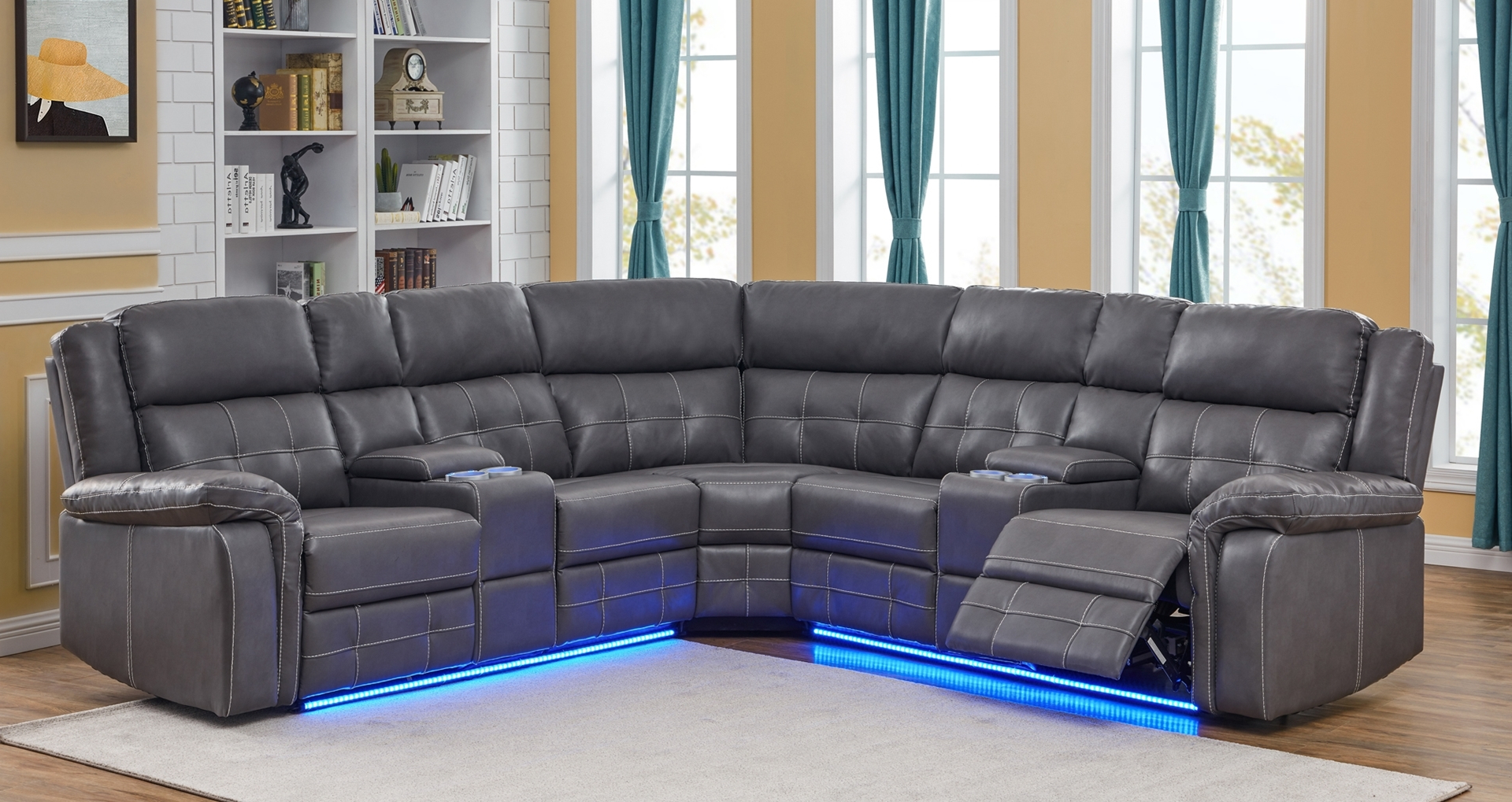 Cobalt Power/manual Reclining Sectional Sofa With Led Regarding Well Known Raven Power Reclining Sofas (View 15 of 20)