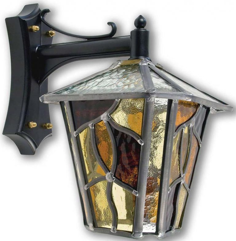 Coniston Amber Leaded Glass Downward Outdoor Wall Lantern Intended For Most Recently Released Powell Beveled Glass Outdoor Wall Lanterns (View 11 of 20)
