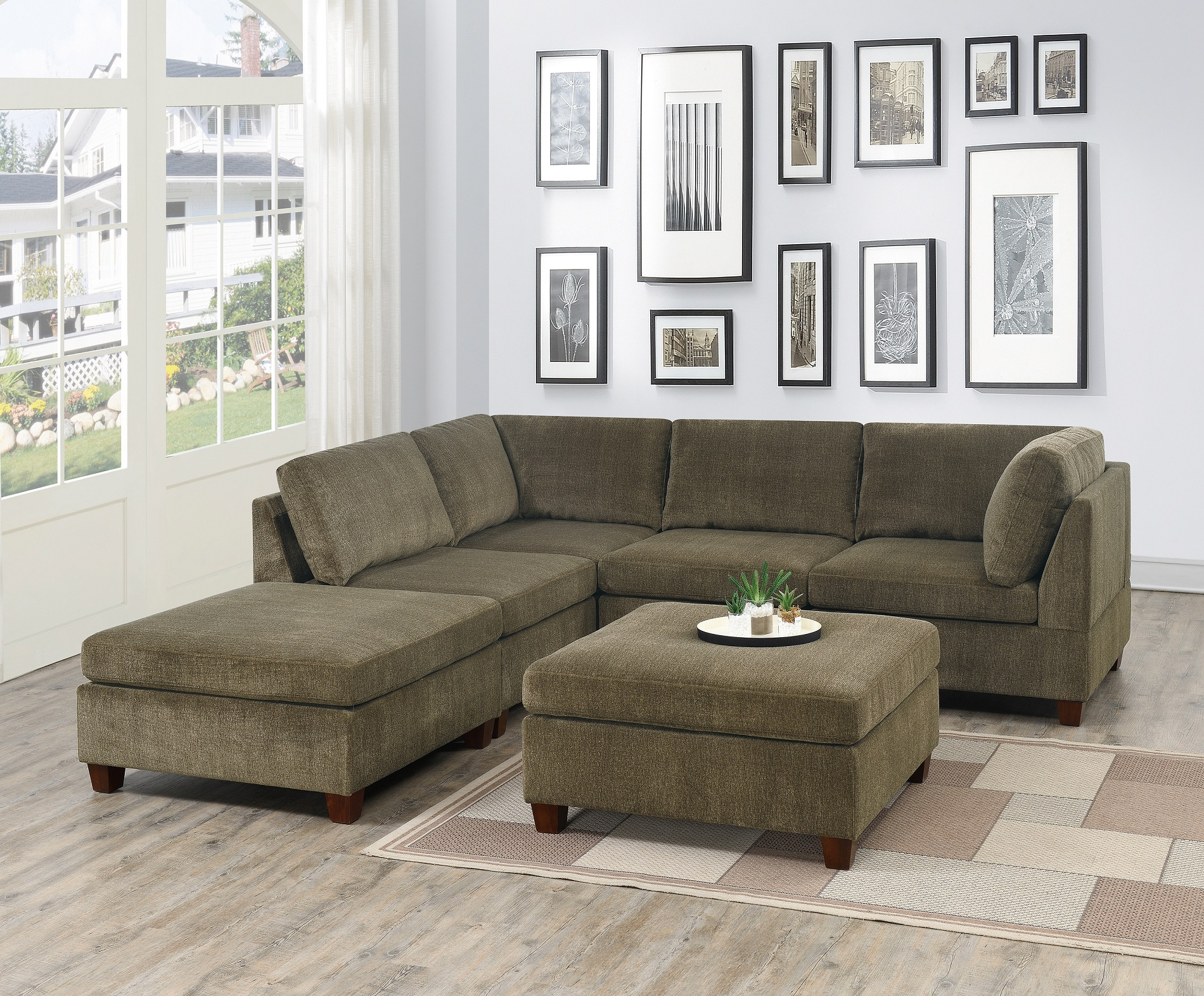 Contemporary Modern Unique Modular 6pc Sectional Sofa Set With Regard To Widely Used Mireille Modern And Contemporary Fabric Upholstered Sectional Sofas (View 1 of 20)