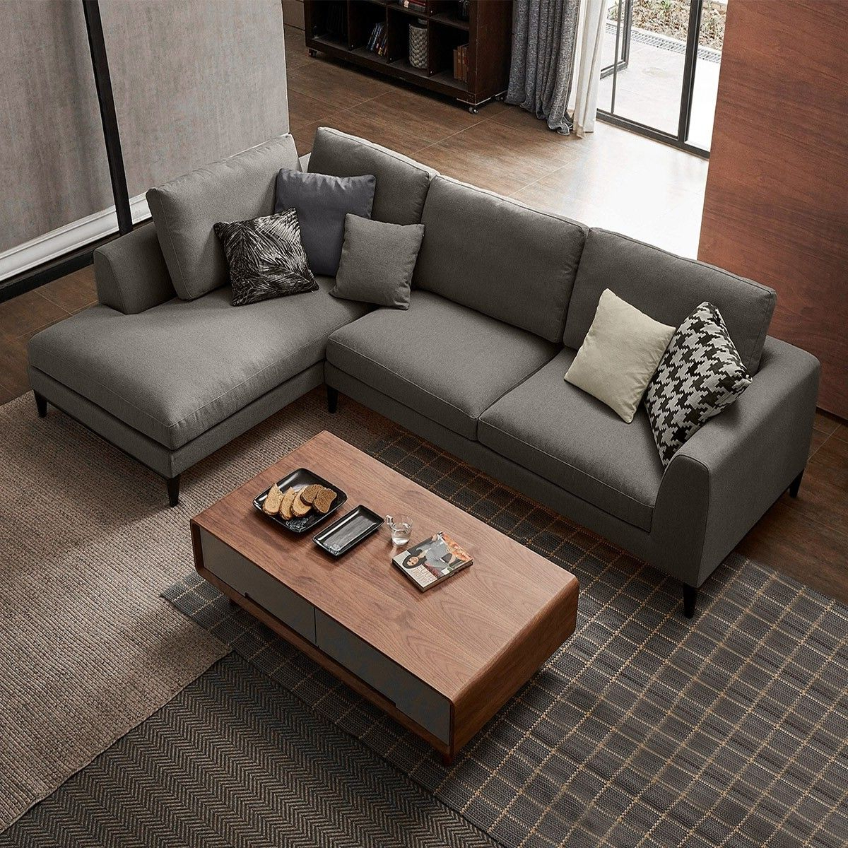 Contemporary Style 2 Piece L Shape Gray Linen Sectional With Well Known 2pc Connel Modern Chaise Sectional Sofas Black (View 16 of 20)