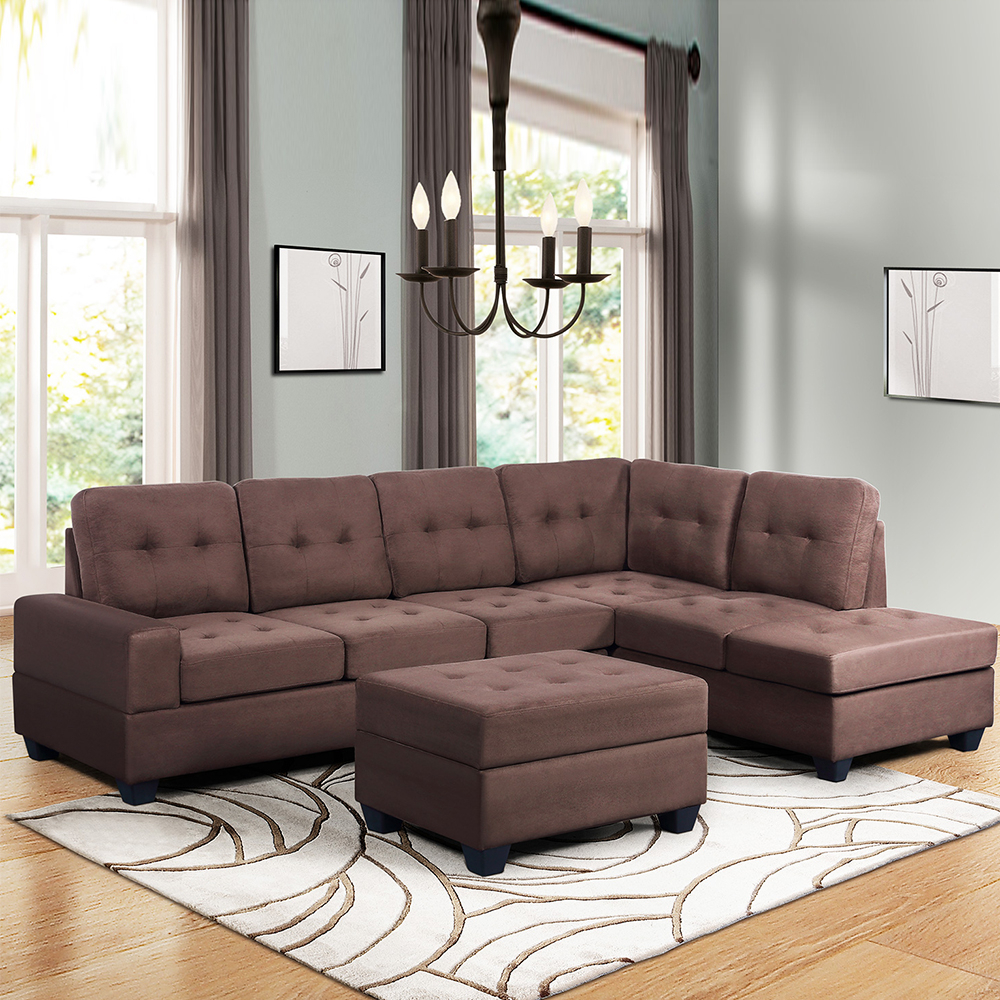 """Convertible Sectional Sofa Couch, 103"""" L Shaped Mid Intended For Recent Verona Mid Century Reversible Sectional Sofas (View 14 of 20)"""