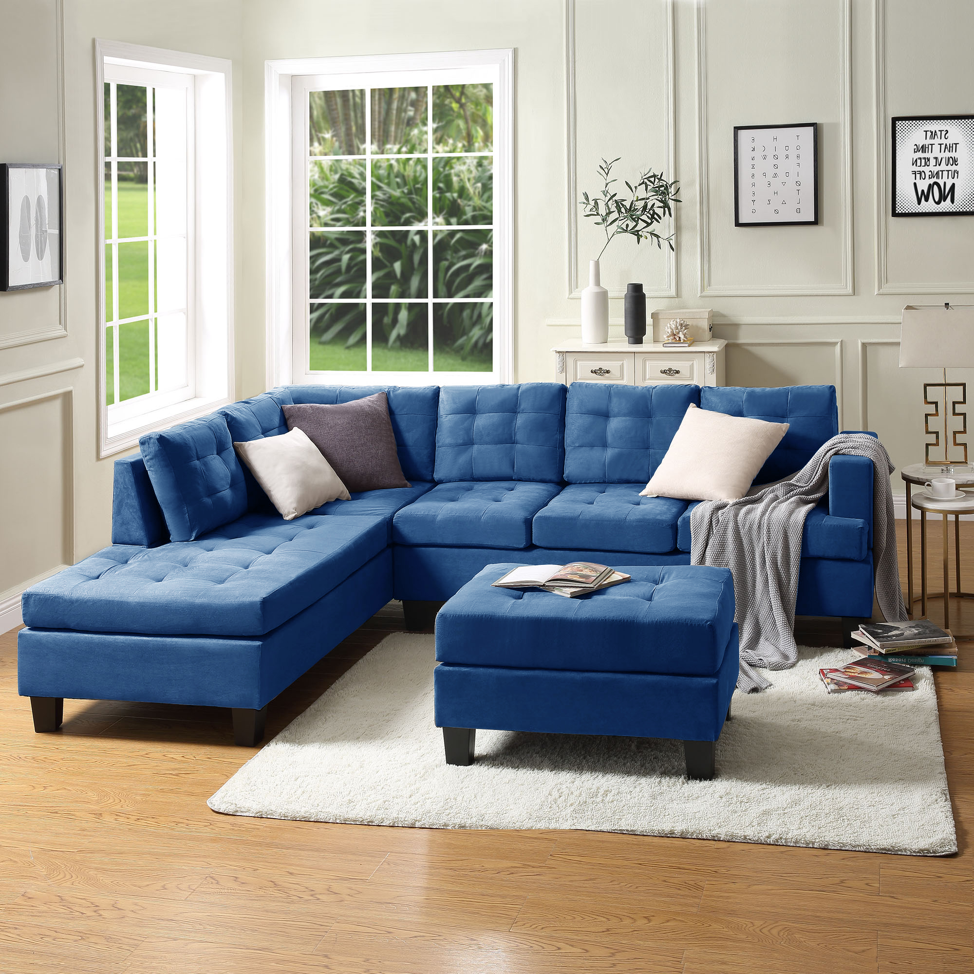 """Convertible Sectional Sofa Couch, 105"""" L Shaped Mid With Famous Dulce Mid Century Chaise Sofas Dark Blue (View 12 of 20)"""