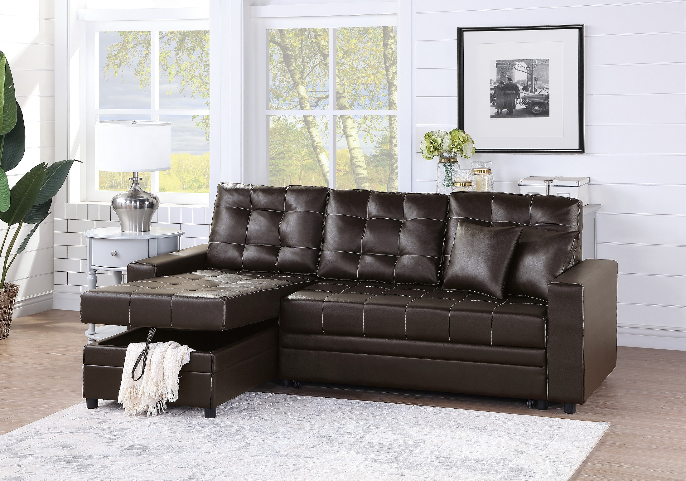 Convertible Sectional Sofa Set Living Room Furniture 2pc For Current 4pc Crowningshield Contemporary Chaise Sectional Sofas (View 1 of 20)