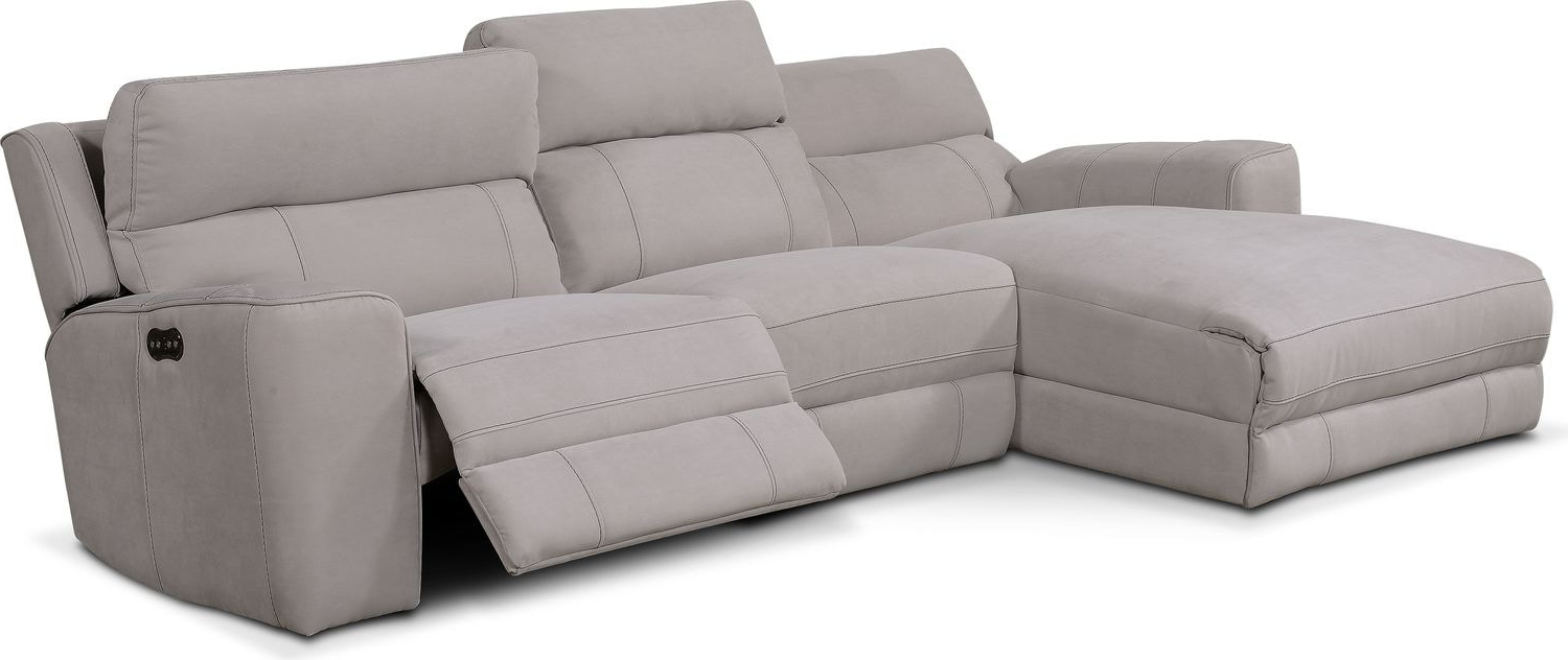 Copenhagen Reclining Sectional Sofas With Left Storage Chaise For Most Up To Date Newport 3 Piece Power Reclining Sectional With Left Facing (View 15 of 20)