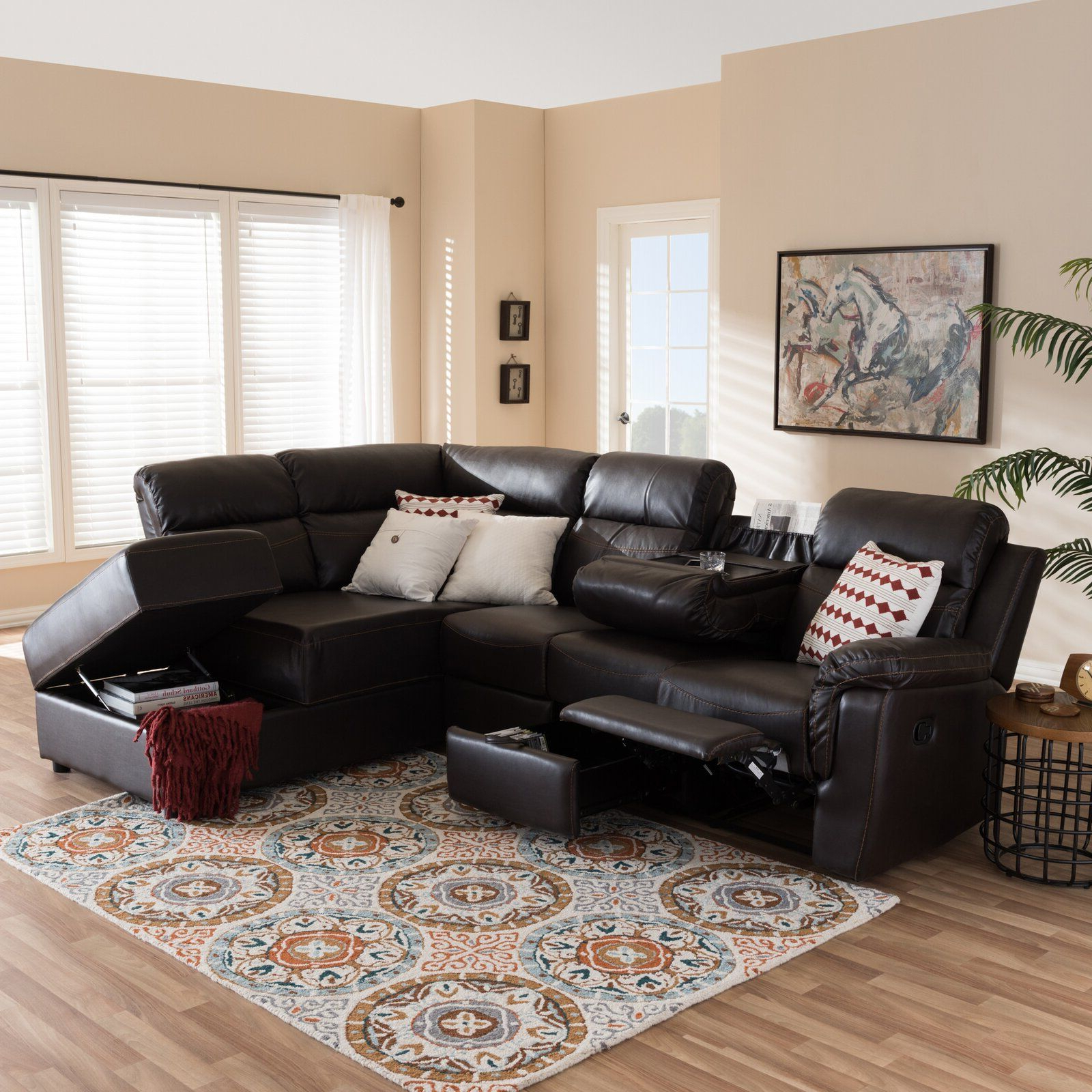 Copenhagen Reclining Sectional Sofas With Right Storage Chaise Intended For Newest Latitude Run® Jaynelle  (View 18 of 20)