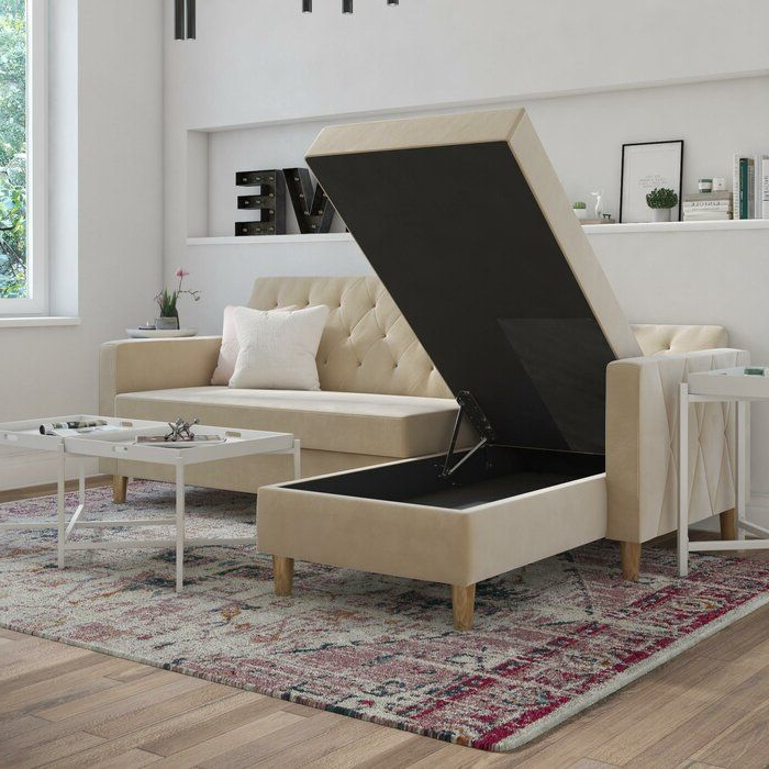 """Copenhagen Reversible Small Space Sectional Sofas With Storage With Regard To Recent Liberty 84"""" Reversible Sleeper Sectional & Reviews (View 20 of 20)"""