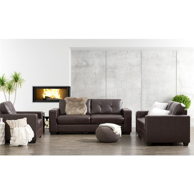 Corliving Club 3 Pc Chocolate Brown Tufted Bonded Leather Inside Preferred 3pc Bonded Leather Upholstered Wooden Sectional Sofas Brown (View 18 of 20)