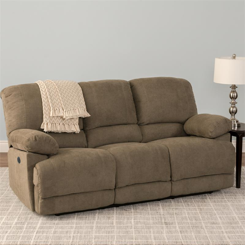 Corliving Lea Brown Chenille Fabric Power Reclining Sofa For Current Power Reclining Sofas (View 13 of 20)