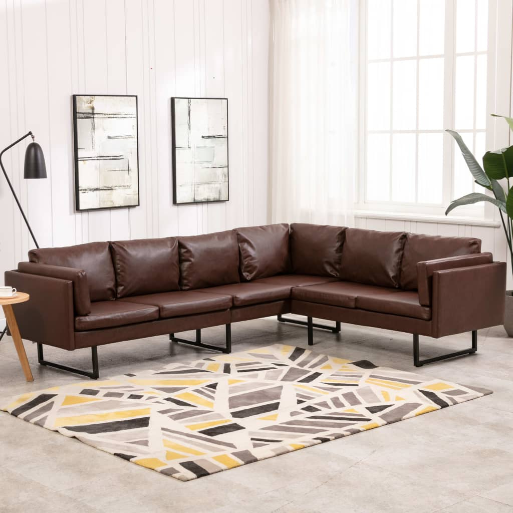 Corner Sofa Faux Leather Brown – Furniture King Throughout Most Up To Date 3pc Faux Leather Sectional Sofas Brown (View 13 of 20)