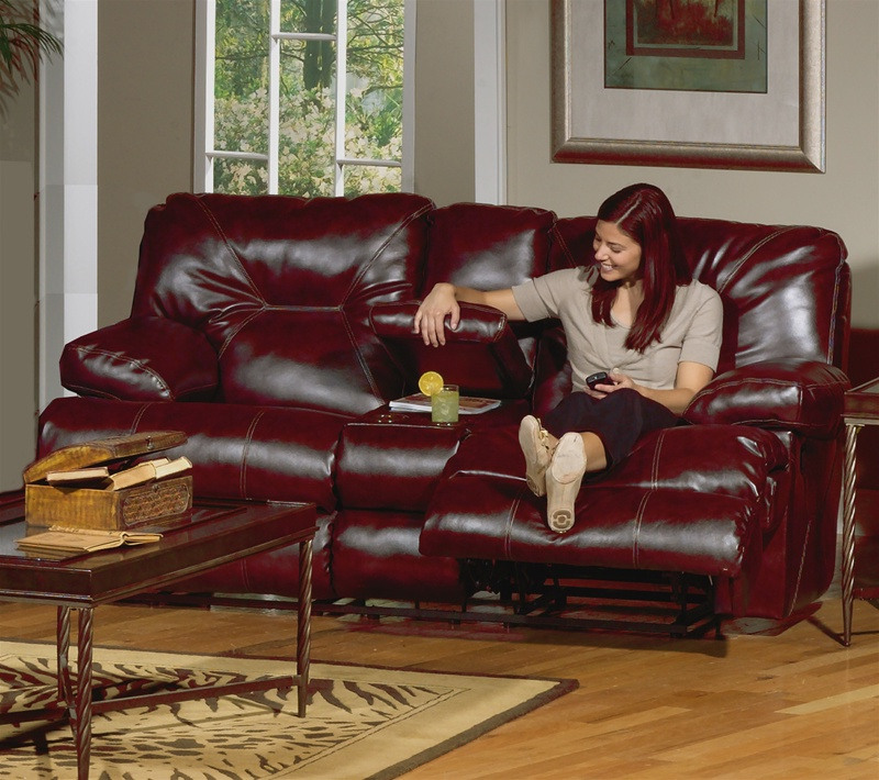 Cortez Chaise Glider Recliner In Dark Red Leather Inside Well Liked Navigator Power Reclining Sofas (View 19 of 20)