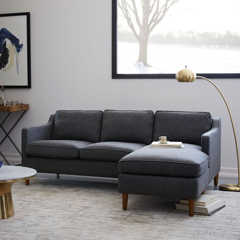 Couches In 2pc Connel Modern Chaise Sectional Sofas Black (View 5 of 20)