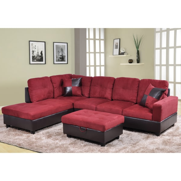 Cromwell Modular Sectional Sofas Regarding Fashionable Shop Delima 3 Piece Burgundy Microsuede And Faux Leather (View 5 of 20)