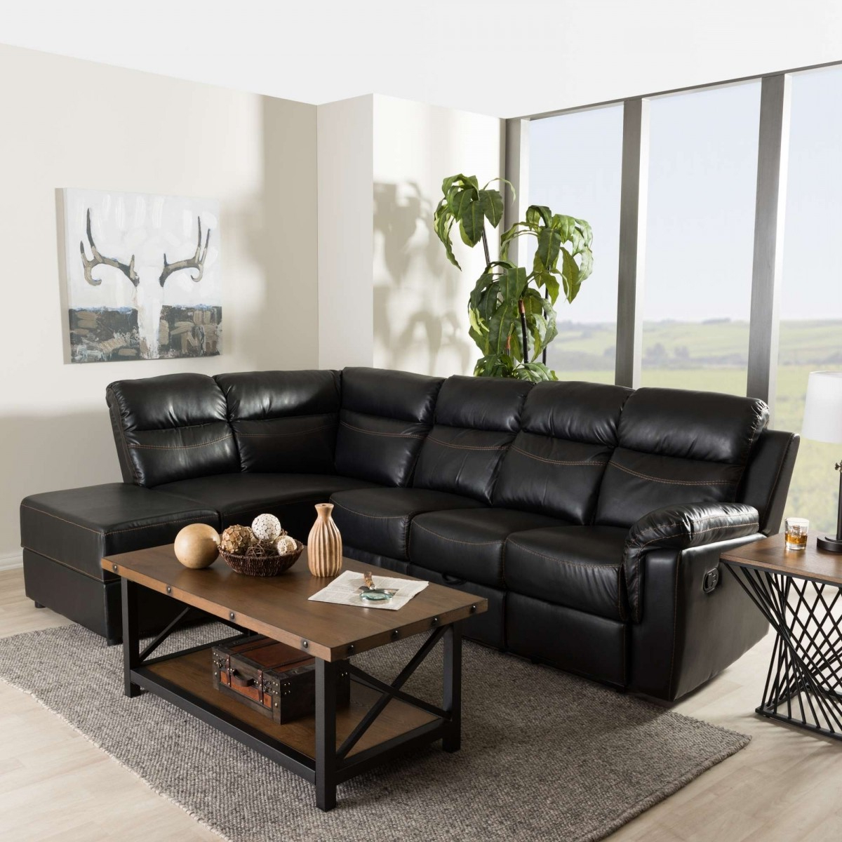 Current 2pc Connel Modern Chaise Sectional Sofas Black Throughout Baxton Studio Roland Contemporary Black Faux Leather  (View 2 of 20)