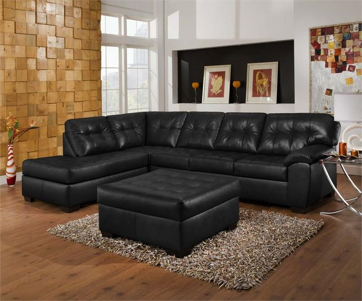 Current Bonded Leather All In One Sectional Sofas With Ottoman And 2 Pillows Brown Regarding Living Room Decorating Ideas With Black Leather Sofa (View 2 of 20)