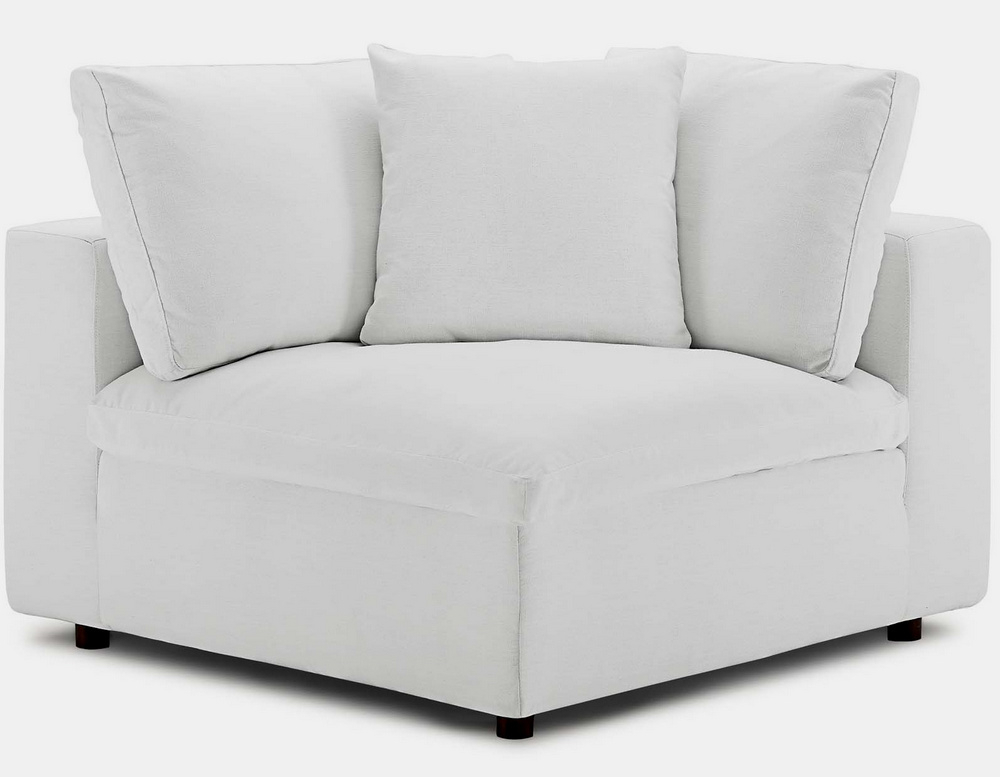 Current Commix 4pc White Fabric Overstuffed Sectional Sofa W With Regard To 4pc Beckett Contemporary Sectional Sofas And Ottoman Sets (View 14 of 20)