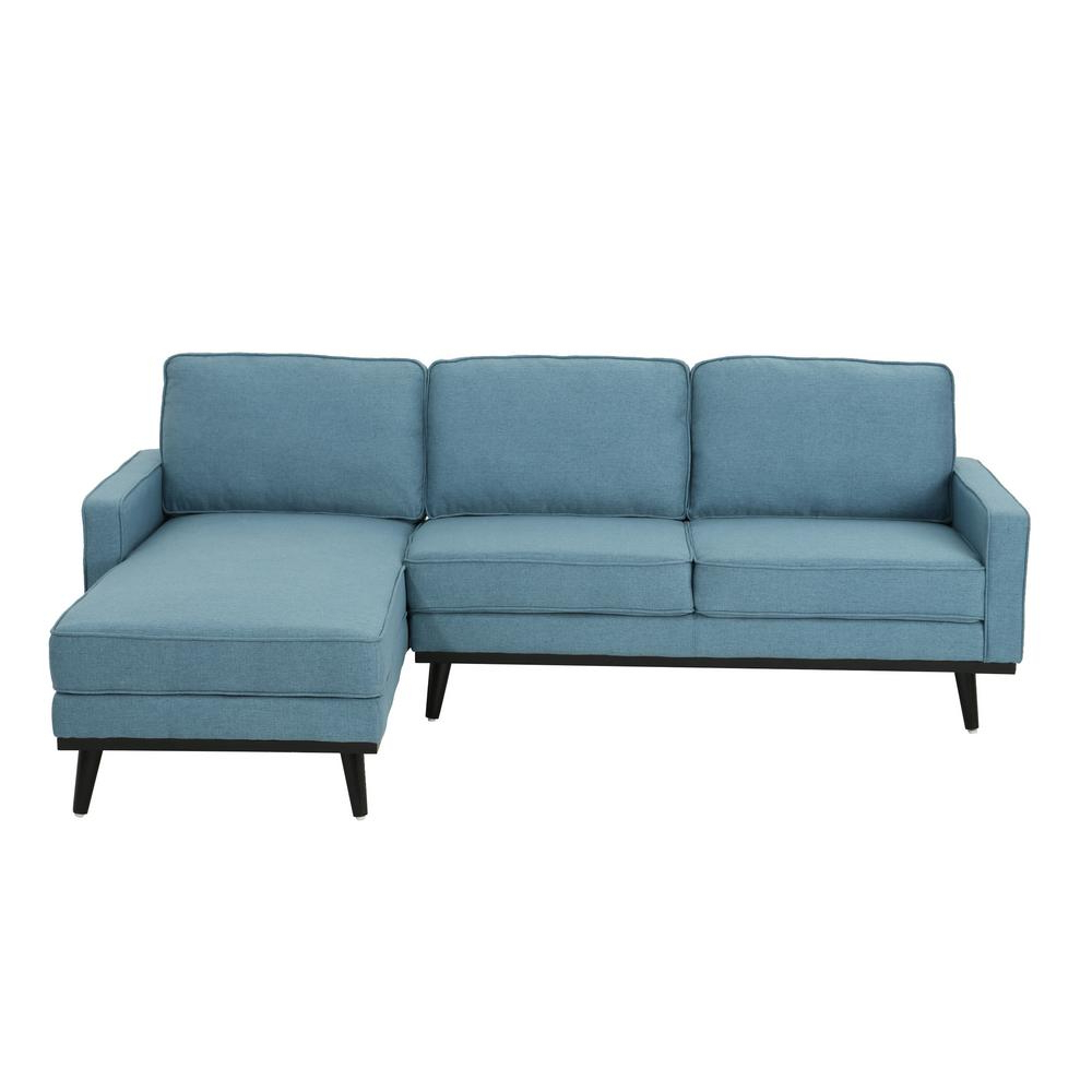 Current Dulce Mid Century Chaise Sofas Dark Blue With Noble House Matilda Mid Century Modern 2 Piece Blue Fabric (View 6 of 20)