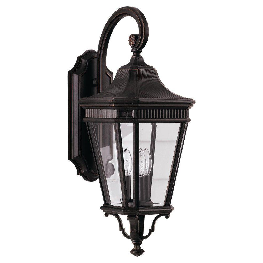 Current Feiss Cotswold Lane 3 Light Grecian Bronze Outdoor Wall Throughout Tangier Dark Bronze Wall Lanterns (View 19 of 20)