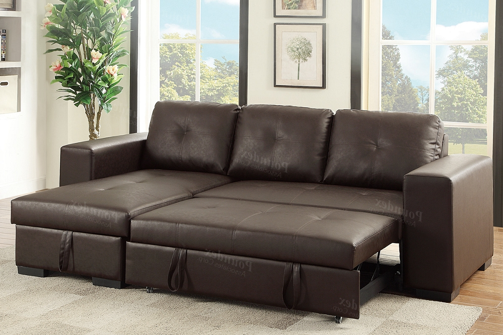 Current Hartford Storage Sectional Futon Sofas Pertaining To Espresso Pu Convertible Sectional Storage Sofa Bed (View 13 of 20)