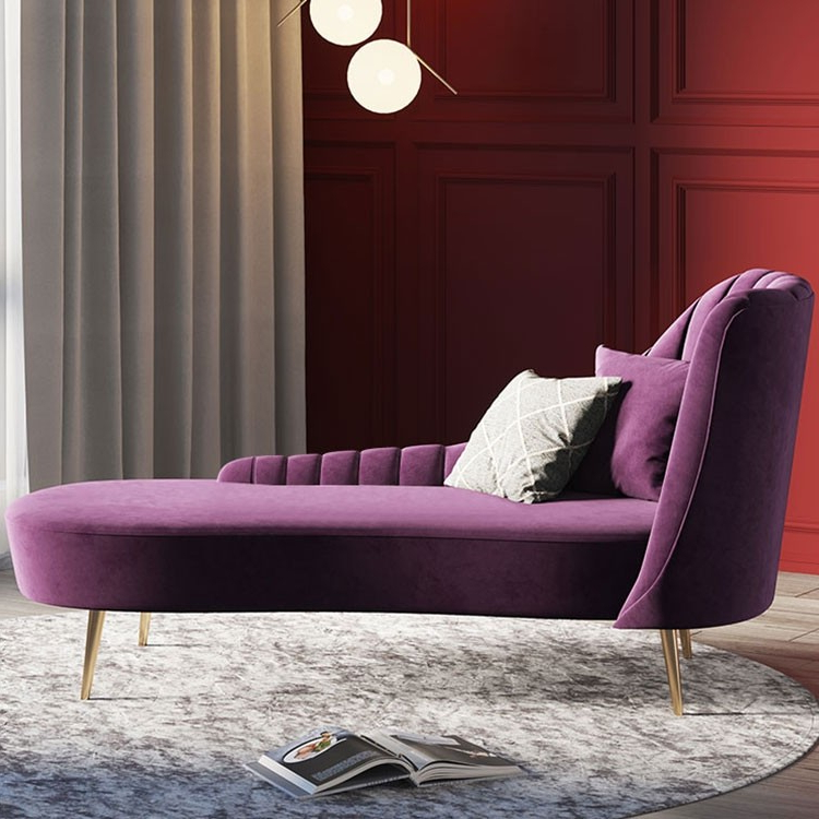 Current Luxury Modern Mid Century Blue / Purple Velvet Upholstered With Dulce Mid Century Chaise Sofas Dark Blue (View 19 of 20)