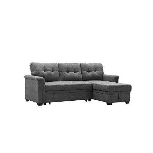 Current Maklaine Contemporary Gray Fabric Reversible/sectional For Harmon Roll Arm Sectional Sofas (View 7 of 20)