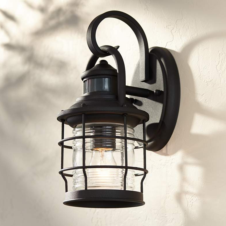 """Current Maryland 12""""h Black Caged Motion Sensor Outdoor Wall Light Throughout Walland Black Outdoor Wall Lanterns (View 4 of 20)"""