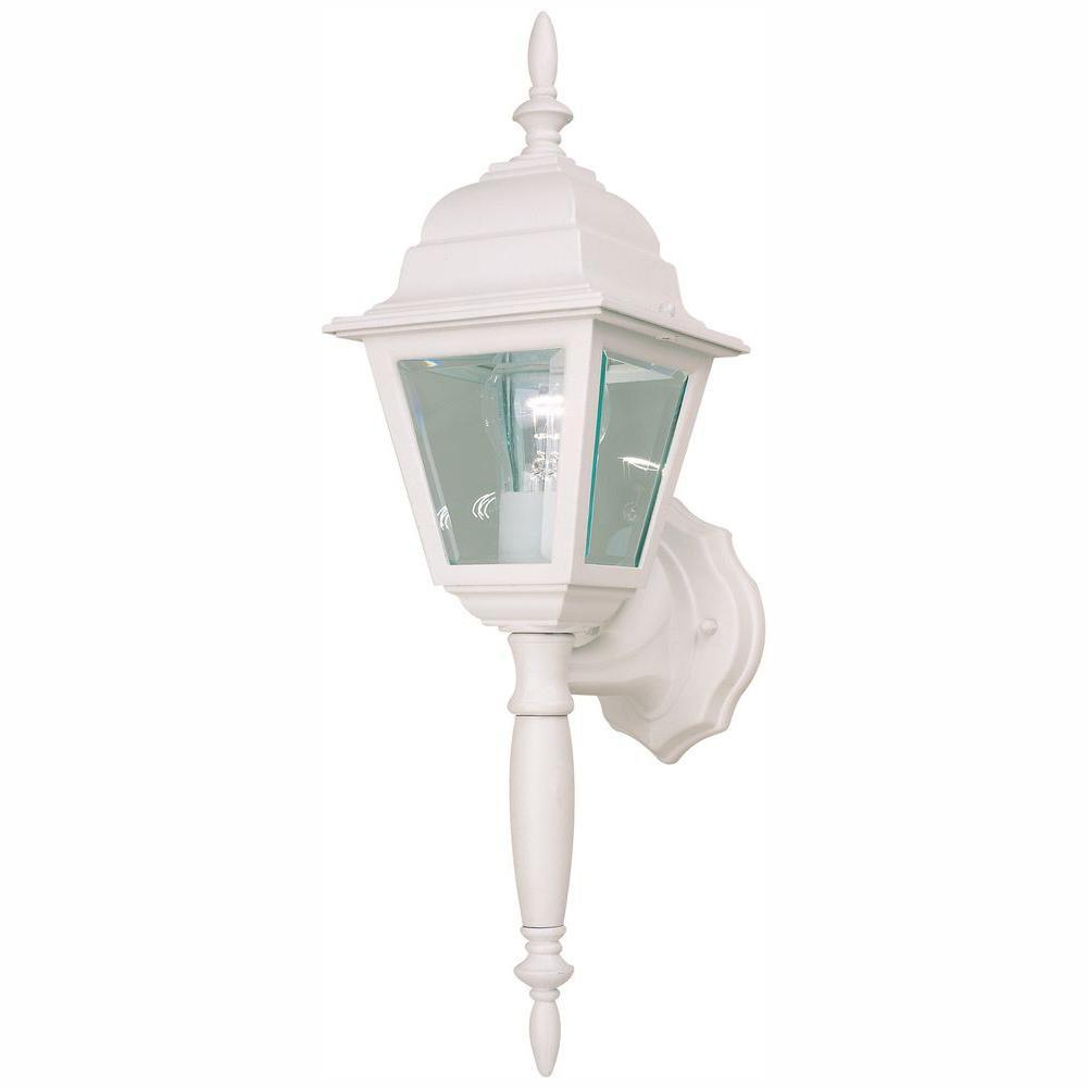 Current Powell Outdoor Wall Lanterns Within Hampton Bay White Outdoor Wall Lantern Hb7023p 06 – The (View 9 of 20)