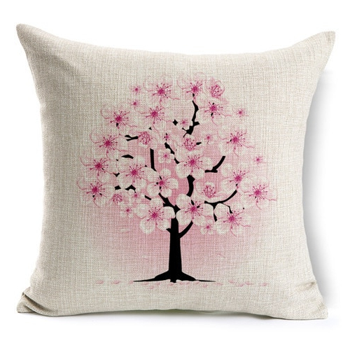 Current Retro Fresh Hand Painted Magnolia Linen Cotton Cushion Pertaining To Magnolia Sectional Sofas With Pillows (View 1 of 20)