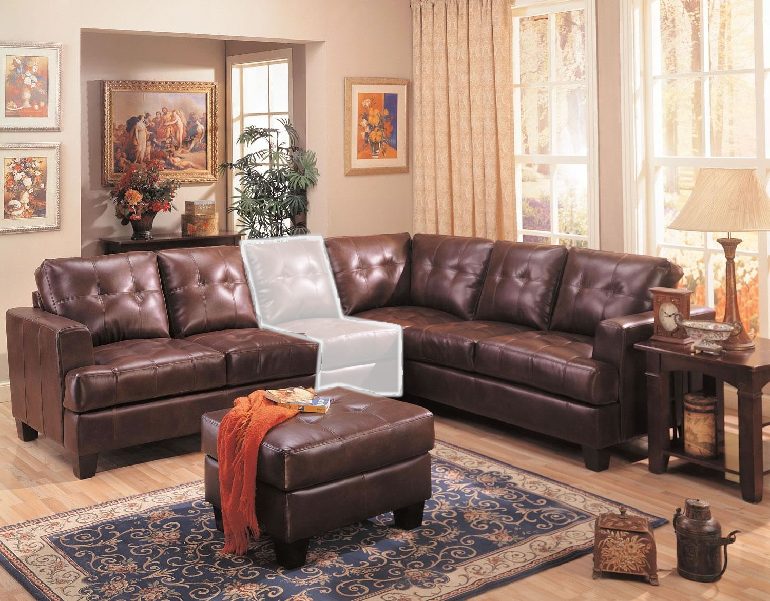 Current Samuel 3 Piece Brown Leather Sectional Sofa From Coaster Pertaining To 3pc Faux Leather Sectional Sofas Brown (View 14 of 20)