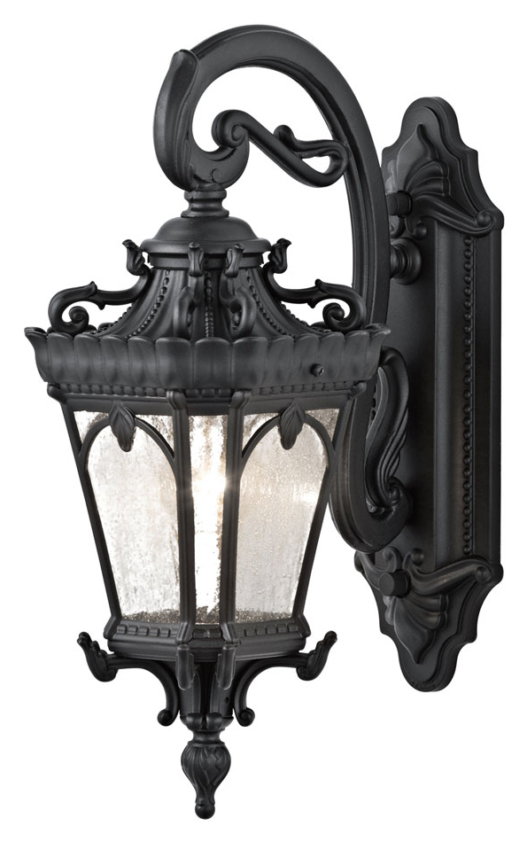 Current Sheard Textured Black 2 – Bulb Wall Lanterns With Kichler 9356bkt Tournai Traditional 18 Inch Tall Exterior (View 1 of 20)
