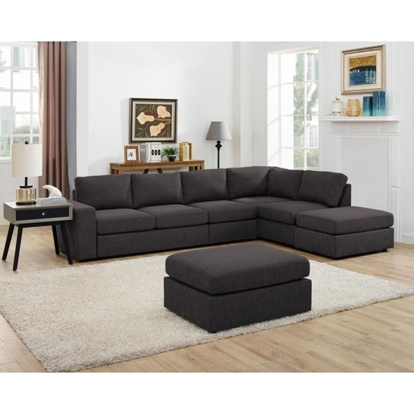 Current Shop Lilola Cassia Modular Sectional Sofa With Ottoman In In Element Right Side Chaise Sectional Sofas In Dark Gray Linen And Walnut Legs (View 19 of 20)