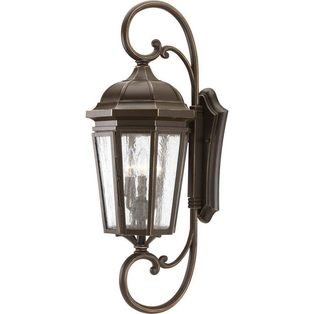 Current Tangier Dark Bronze Wall Lanterns Pertaining To Progress Lighting Verdae Collection 3 Light Outdoor (View 20 of 20)