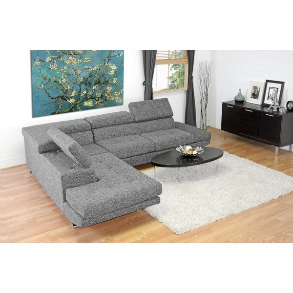 Current Wynne Contemporary Sectional Sofas Black For Baxton Studio Adelaide Grey Twill Fabric Modern Sectional (View 18 of 20)
