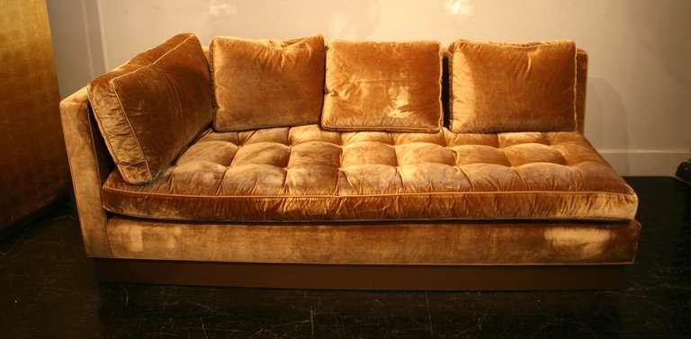 Custom Gold Silk Velvet Sectional Sofa, Usa 2000 At 1stdibs With Trendy French Seamed Sectional Sofas In Velvet (View 7 of 20)