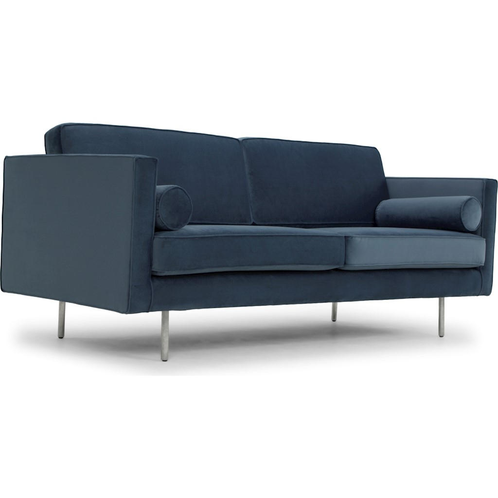 Cyrus Triple Seat Sofa In Dusty Blue Fabric Seat Pertaining To Recent Brayson Chaise Sectional Sofas Dusty Blue (View 19 of 20)