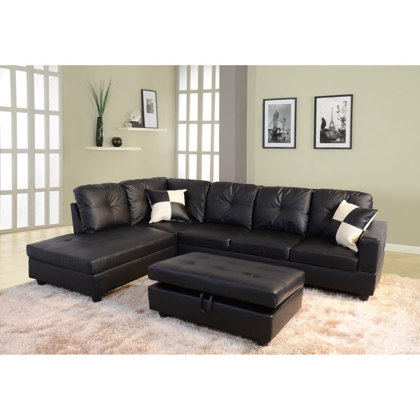 Delma 3 Piece Faux Leather Right Chaise Sectional Set Inside Most Up To Date 3pc Faux Leather Sectional Sofas Brown (View 7 of 20)