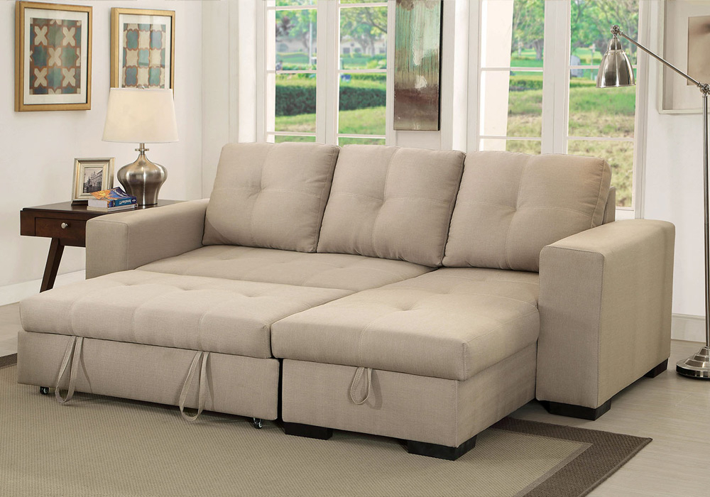 Denton Comfort Sectional Pull Out Sleeper Futon Reversible Pertaining To Widely Used Hartford Storage Sectional Futon Sofas (View 15 of 20)