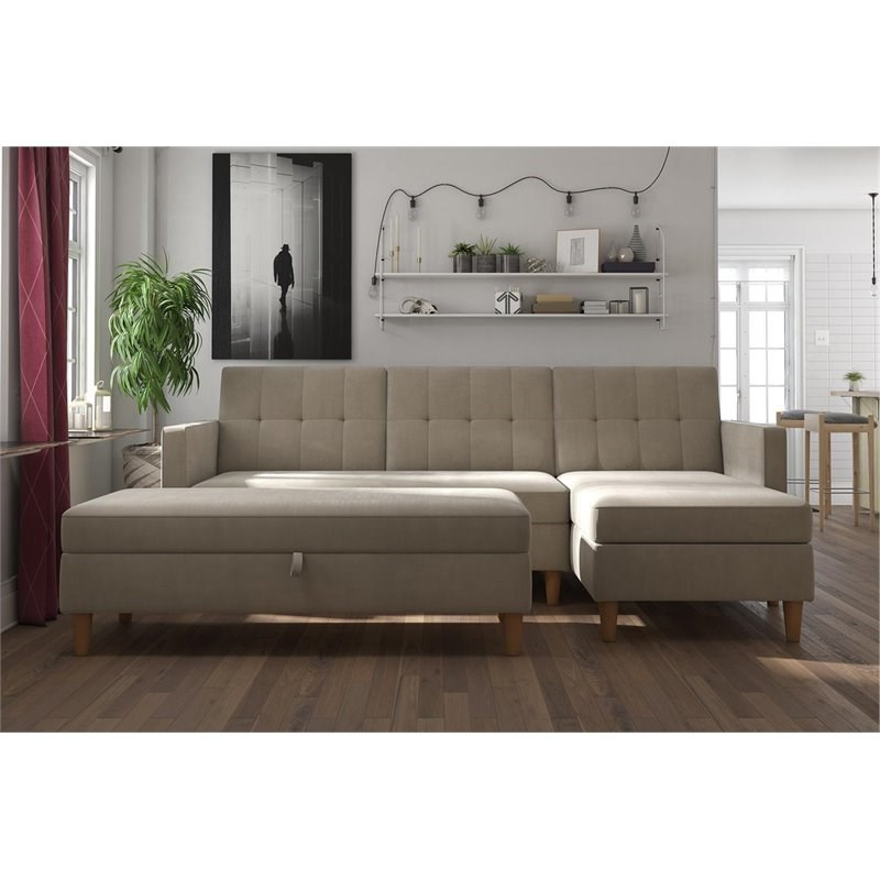 Dhp Hartford Storage Sectional Futon And Storage Ottoman With 2019 3pc Hartford Storage Sectional Futon Sofas And Hartford Storage Ottoman Tan (View 5 of 20)