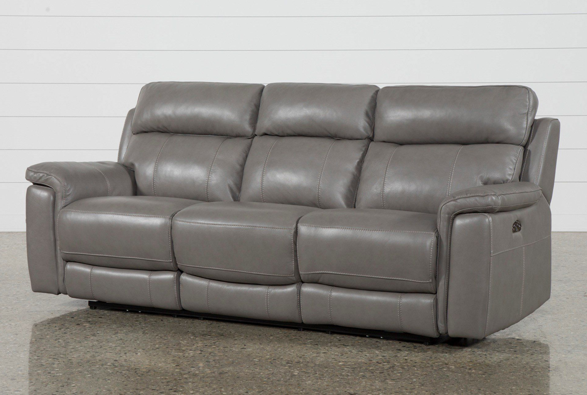 """Dino Grey Leather 91"""" Power Reclining Sofa With Power For Well Known Pacifica Gray Power Reclining Sofas (View 8 of 20)"""