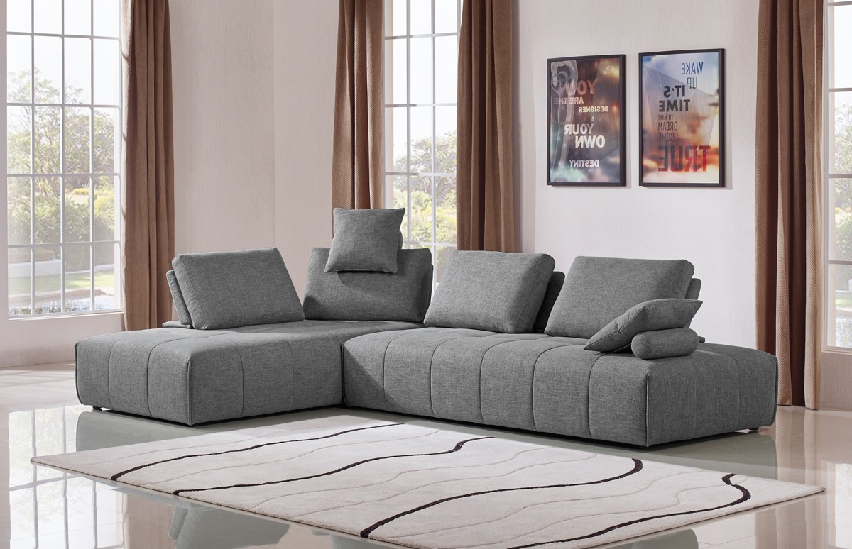 Divani Casa Edgar Modern Grey Fabric Modular Sectional Sofa Inside Most Recently Released Sectional Sofas In Gray (View 18 of 20)