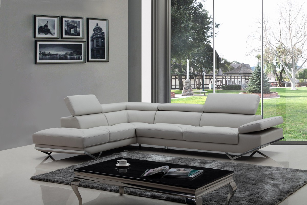 Divani Casa Quebec Modern Light Grey Eco Leather Sectional With Regard To Most Up To Date 2pc Crowningshield Contemporary Chaise Sofas Light Gray (View 16 of 20)