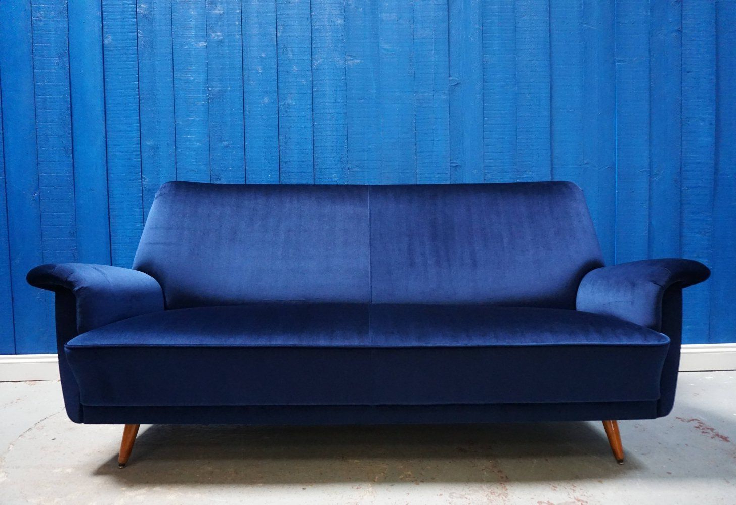 Dove Mid Century Sectional Sofas Dark Blue Throughout Current For Sale: Mid Century Danish Sofa In Luxury Navy Blue (View 16 of 20)