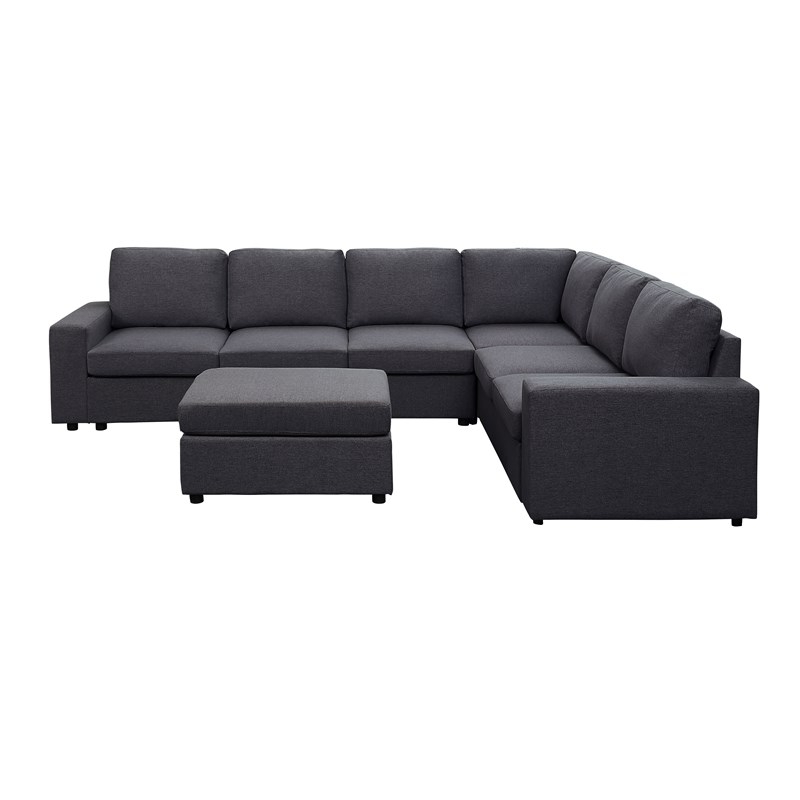 Dream Navy 2 Piece Modular Sofas Pertaining To Latest Bayside Modular Sectional Sofa With Ottoman In Dark Gray (View 3 of 20)