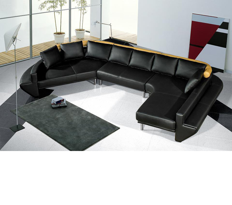 Dreamfurniture – Mars Ultra Modern Black Leather With Regard To Widely Used Wynne Contemporary Sectional Sofas Black (View 11 of 20)