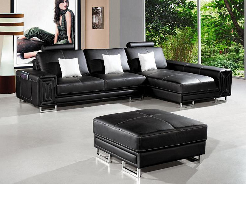 Dreamfurniture – T957 – Modern Black Leather Sectional For Current Wynne Contemporary Sectional Sofas Black (View 9 of 20)