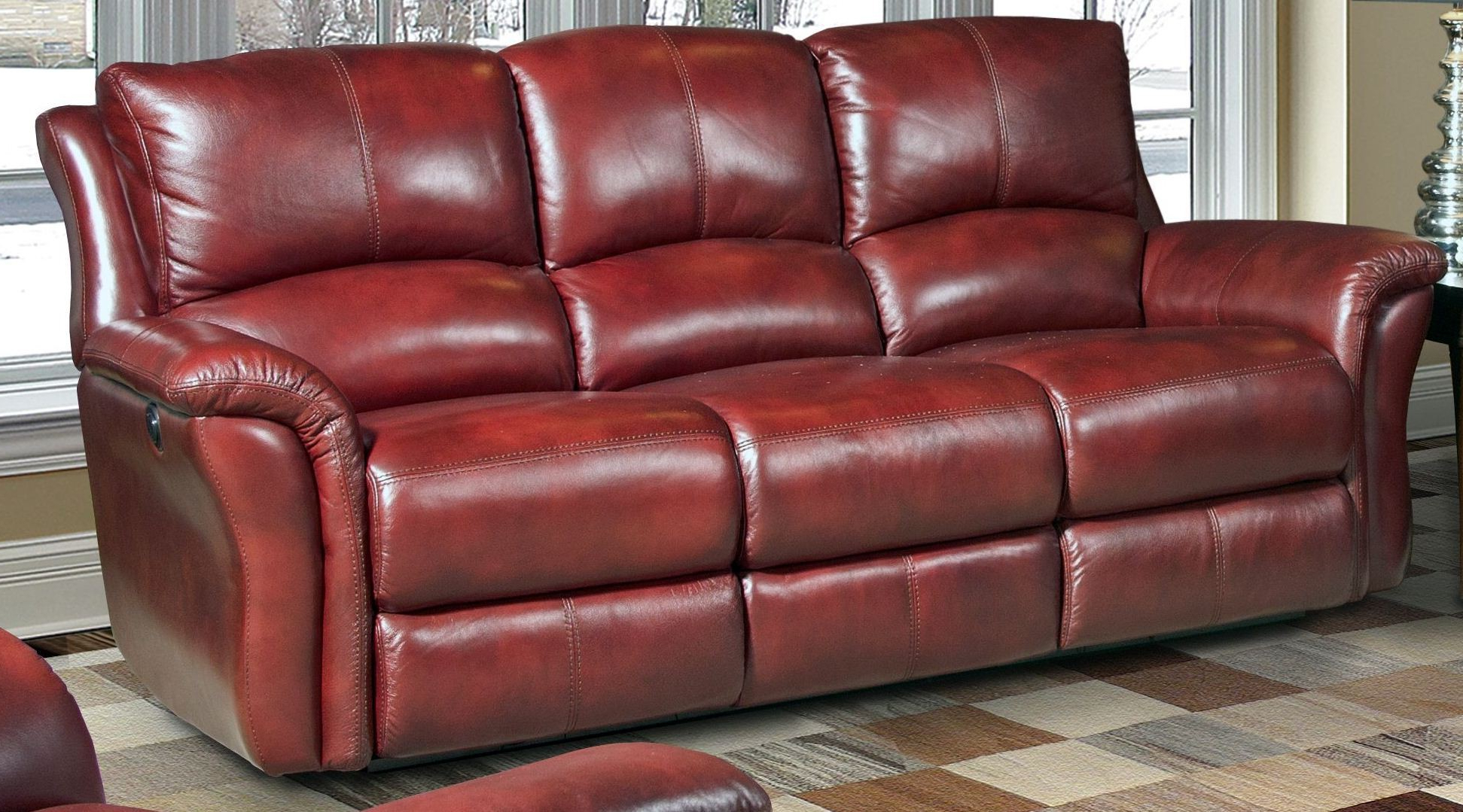 Dual Power Reclining Sofas Regarding Fashionable Lewis Lipstick Dual Power Reclining Sofa From Parker (View 5 of 20)