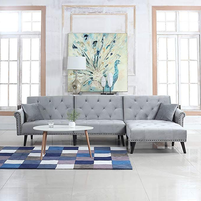 Dulce Mid Century Chaise Sofas Dark Blue For Trendy Divano Roma Furniture Mid Century Modern Style Velvet (View 17 of 20)