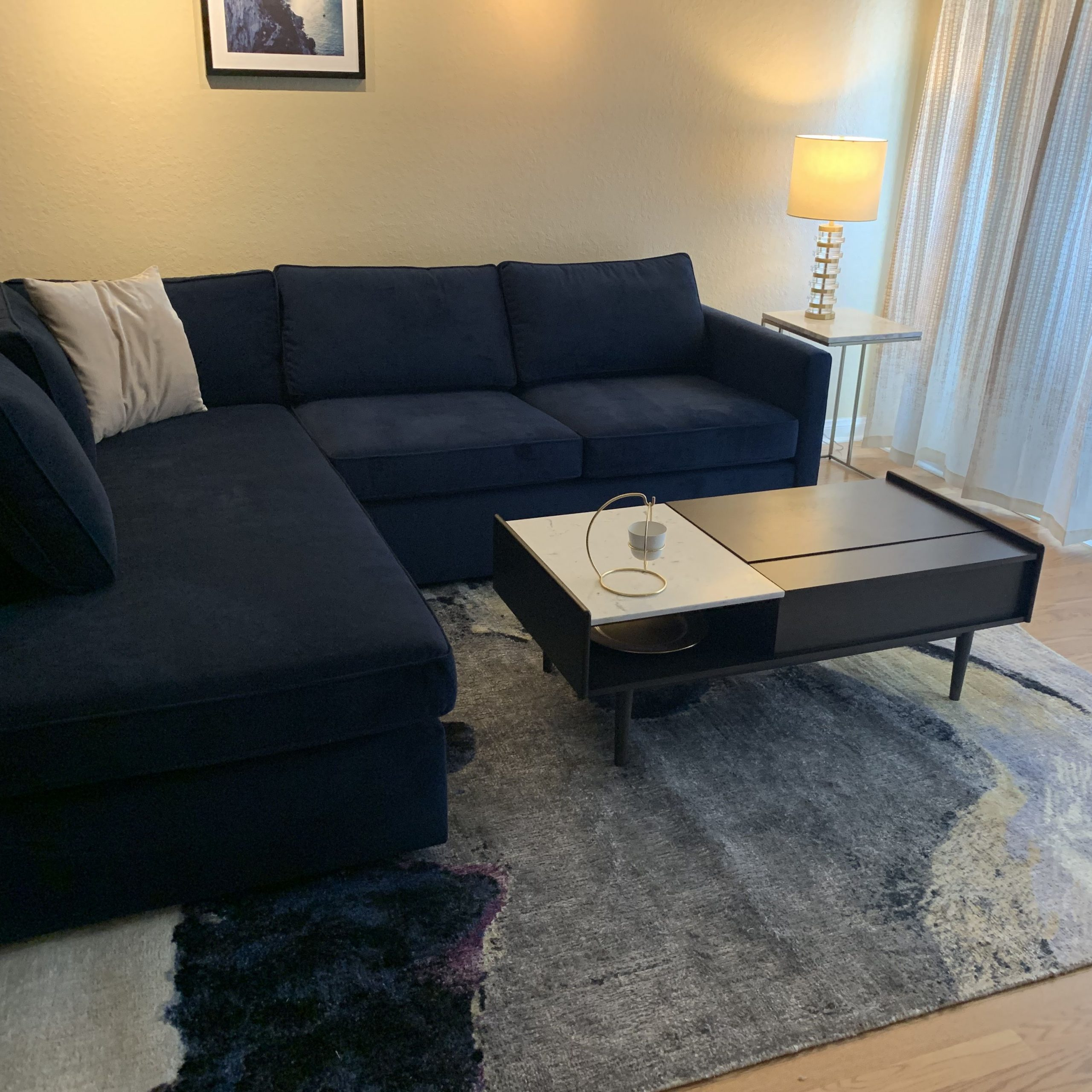 Dulce Mid Century Chaise Sofas Dark Blue Inside Trendy Velvet Couch Ink Blue Mid Century Modern (View 10 of 20)