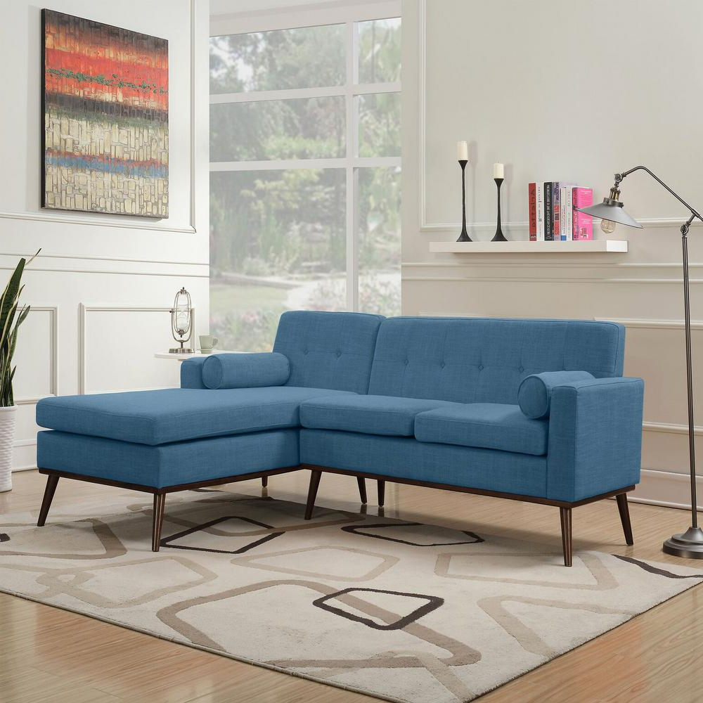 Dulce Mid Century Chaise Sofas Dark Blue Intended For Favorite Noble House 2 Piece Muted Blue Fabric Chaise Sectional (View 5 of 20)