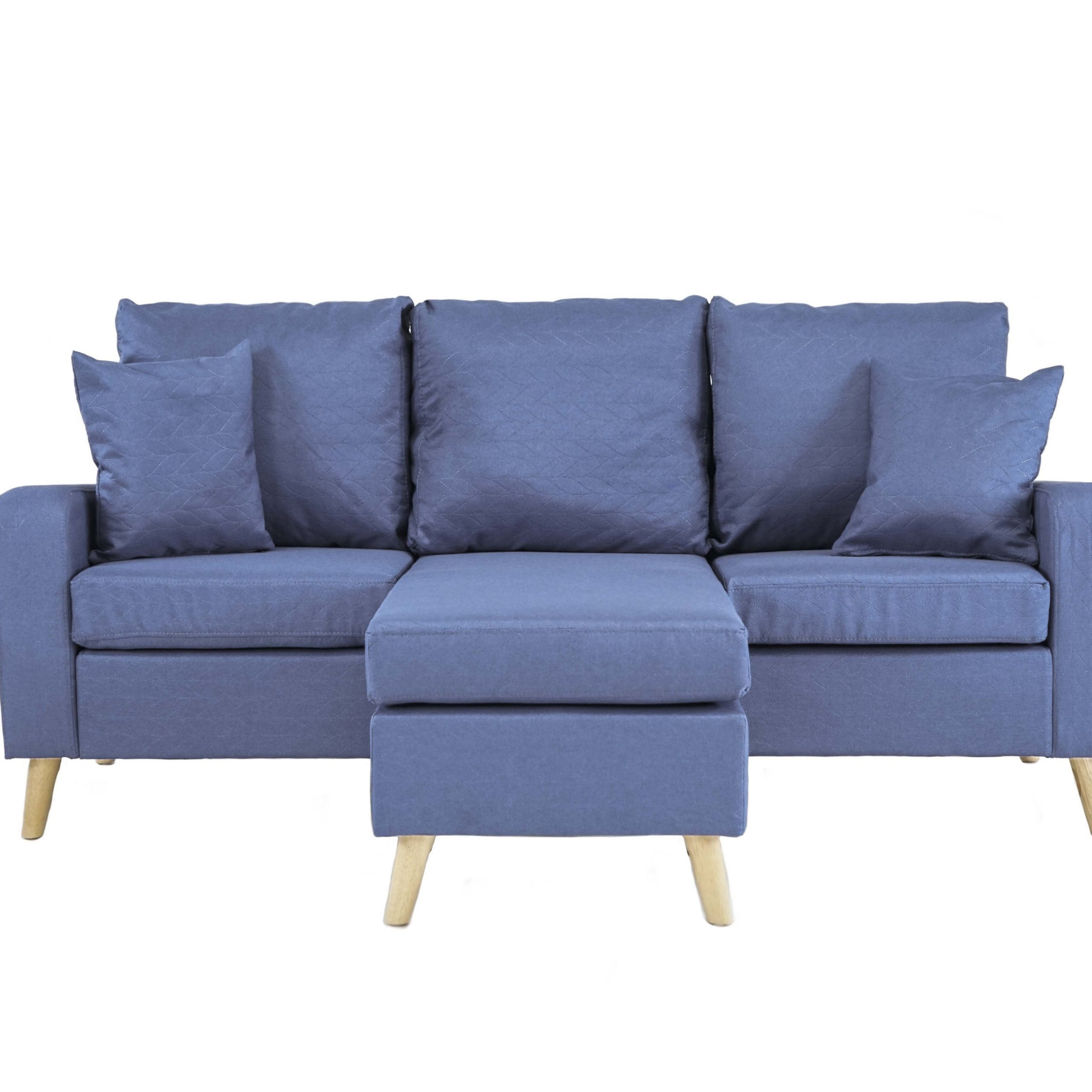 Dulce Mid Century Chaise Sofas Dark Blue Pertaining To Recent Light Blue Small Space Furniture Sectional Sofa With (View 7 of 20)