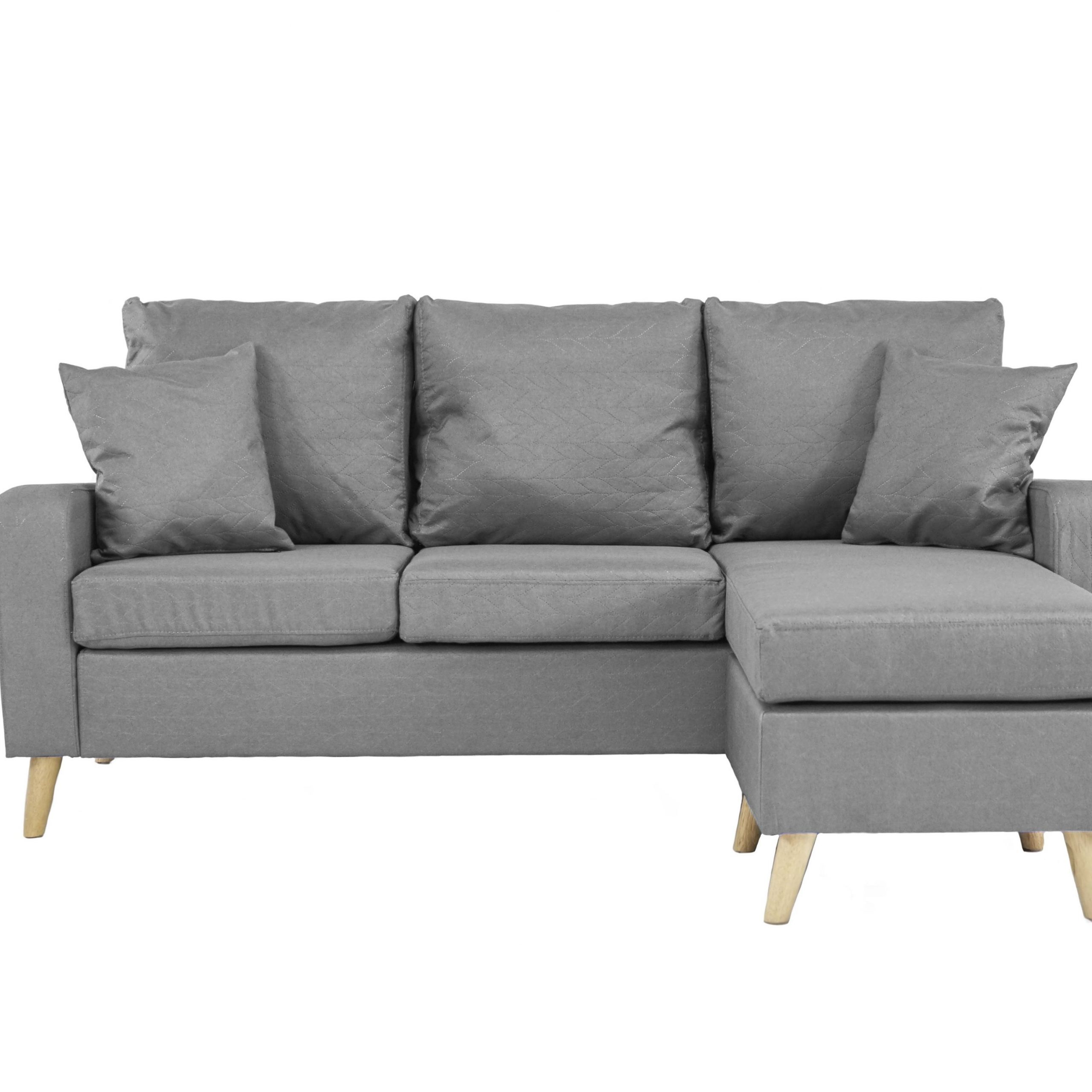 Dulce Mid Century Chaise Sofas Light Gray Pertaining To Most Current Grey Small Space Configurable L Shape Couch Sectional Sofa (View 1 of 20)